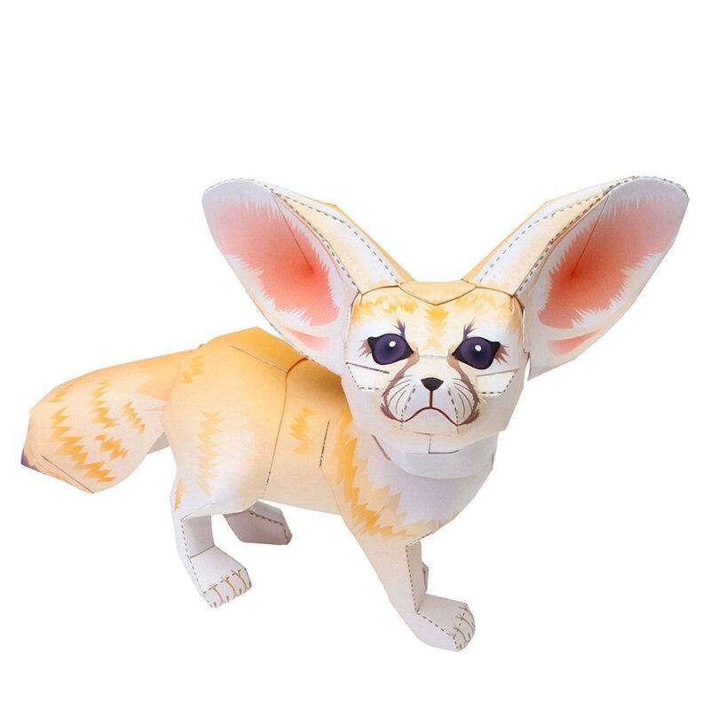 Fennec Fox Folding Cutting Mini Cute 3D Paper Model Papercraft Pet Animal Figure DIY Kids Adult Handmade Craft Toys QD-008