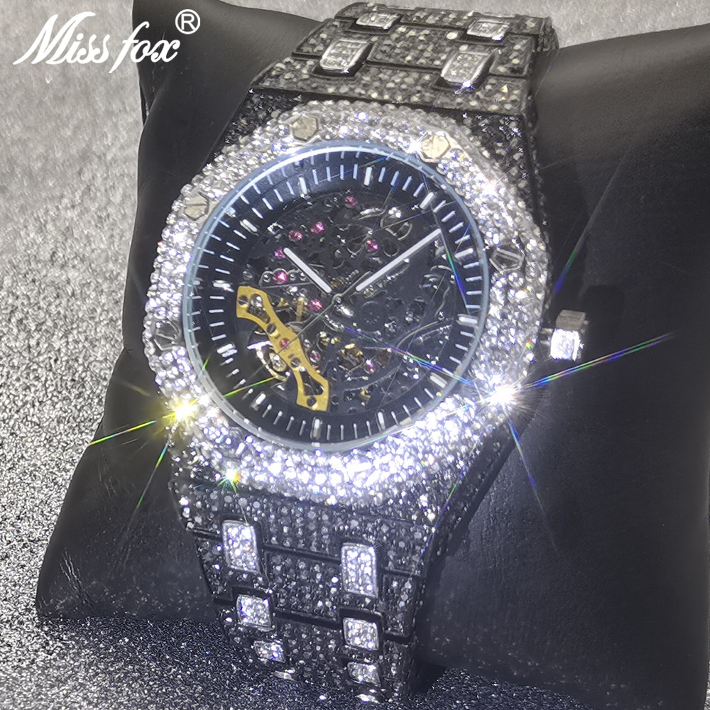 Hip Hop MISSFOX Mechanical Mens Watches Automatic Luxury Iced Out Black Watch Full Steel Diamond Hollow Business Jewelry Clocks