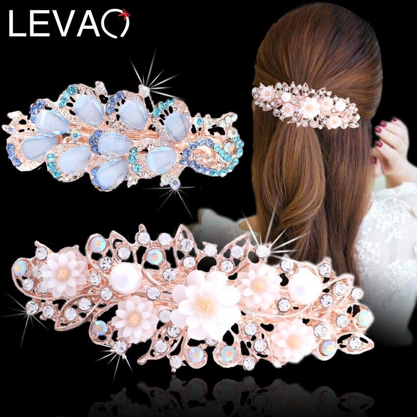 Levao novo strass flor oco grampos de cabelo colorido cristal pavão grampos de cabelo para mulheres pérola barrettes primavera grampos headwear