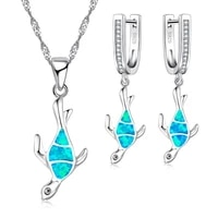 fdlk cute blue imitation opal sea turtle jewelry sets for party accessory women necklace and earrings set animal jewelry