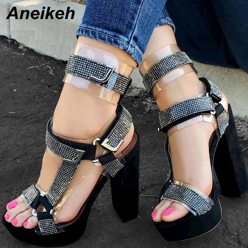 Aneikeh Peep Toe Rhinestone Platform High Heels Sandals Summer Fashion Women Shoes Party Wedding Shoes Rome Buckle Sandals Pumps
