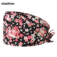 Nurse Accessories 100 Cotton Flowers Printed Hats Hospital Medical Scrub Hats Beauty Salon Nursing Scrubs Caps Wholesale Prices