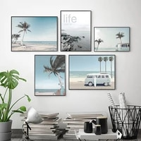 travel tropic hawaii beach wall art poster bus surfboard palm landscape painting canvas painting modern picture home decoration