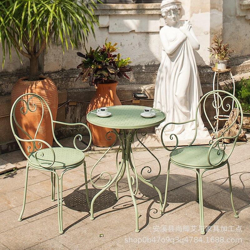 مجموعة اثاث الباحة الحديد في الهواء الطلق حديقة شرفة الترفيه مقهى الحليب الشاي متجر كرسي طاولة فناء الأثاث