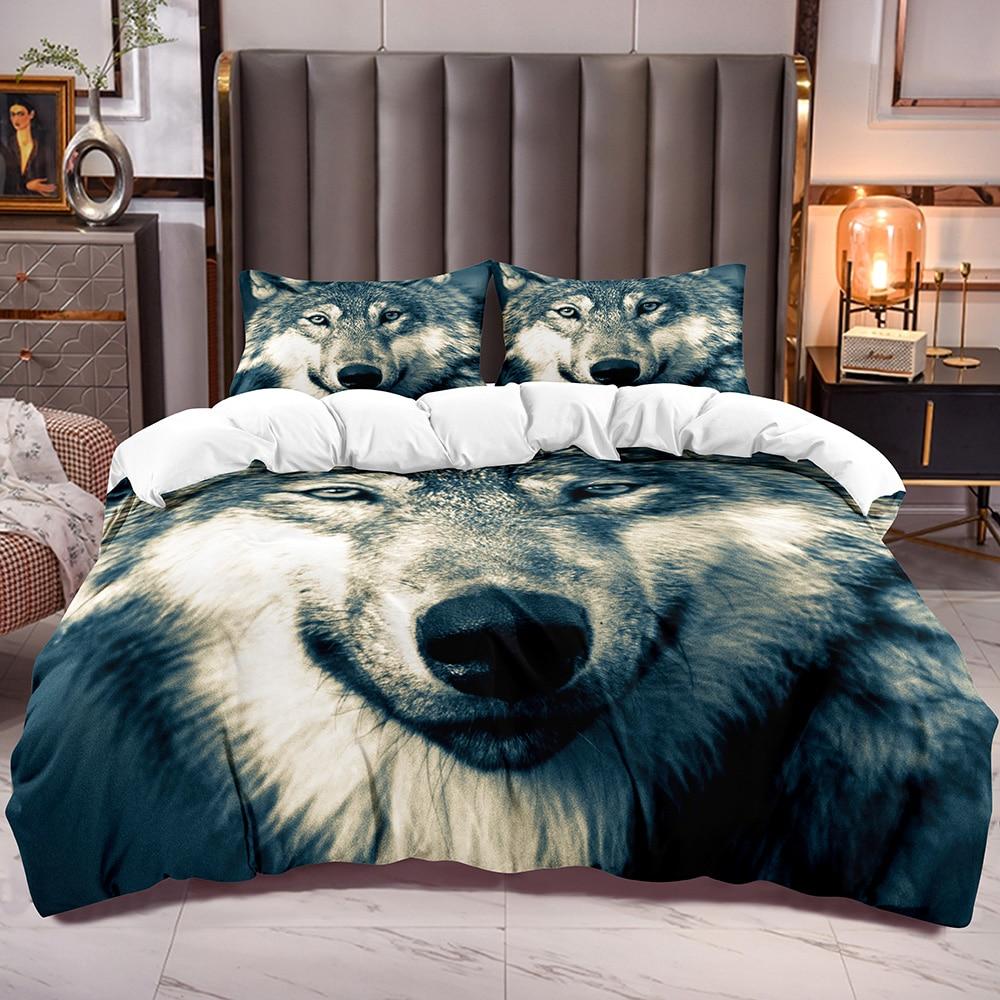 الذئب طباعة حاف الغطاء للأطفال الحيوان موضوع المعزي غطاء مع طباعة Wold ثلاثية الأبعاد الأبيض عكس