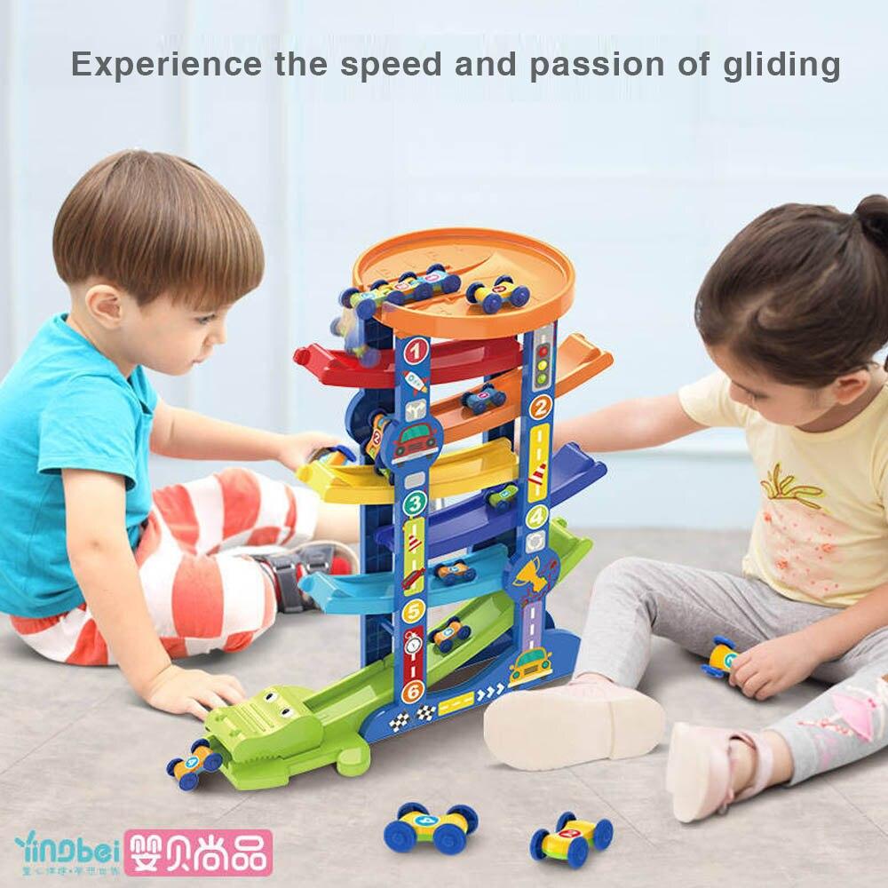 Wooden 7-Layer Ramp Race Track & 6 Mini Inertia Car Sliding Toy Vehicel&Train Baby Toddler Motor Skill Developmental Kids Gift