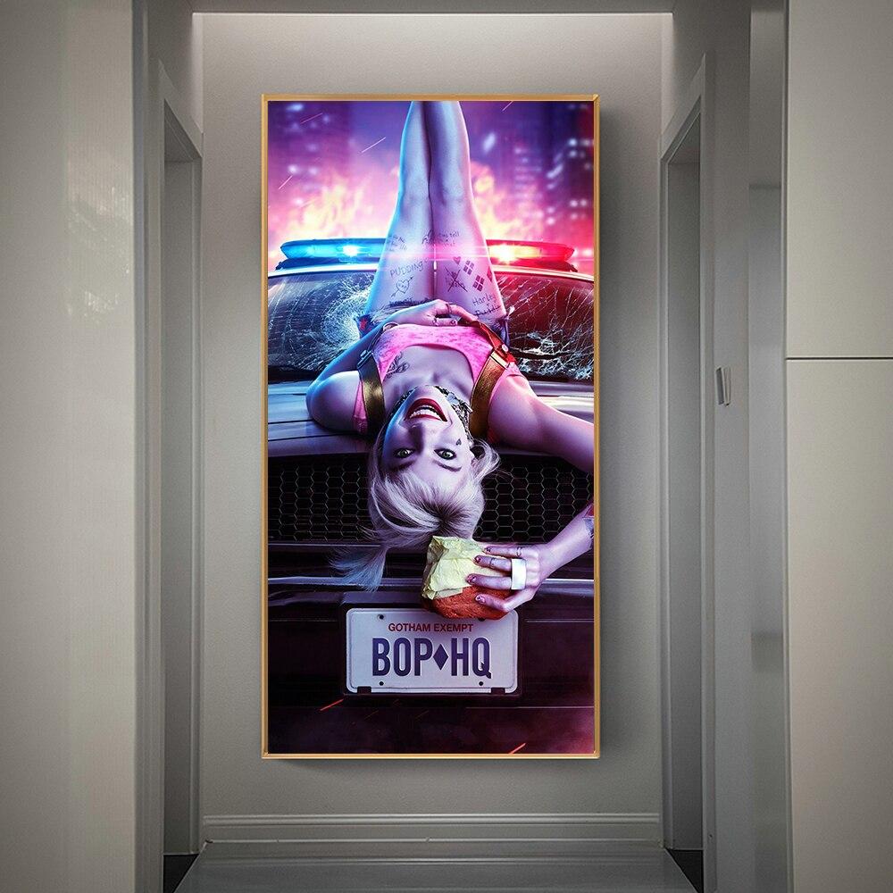 Crazy Harley Quinn, póster de película de Arte Fino, pintura en lienzo, Cuadros, arte de pared para sala de estar, decoración del hogar (sin marco)