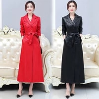 2021 leather women s large leather new mid long women s wear autumn and winter slim skin windbreaker jacket fashion