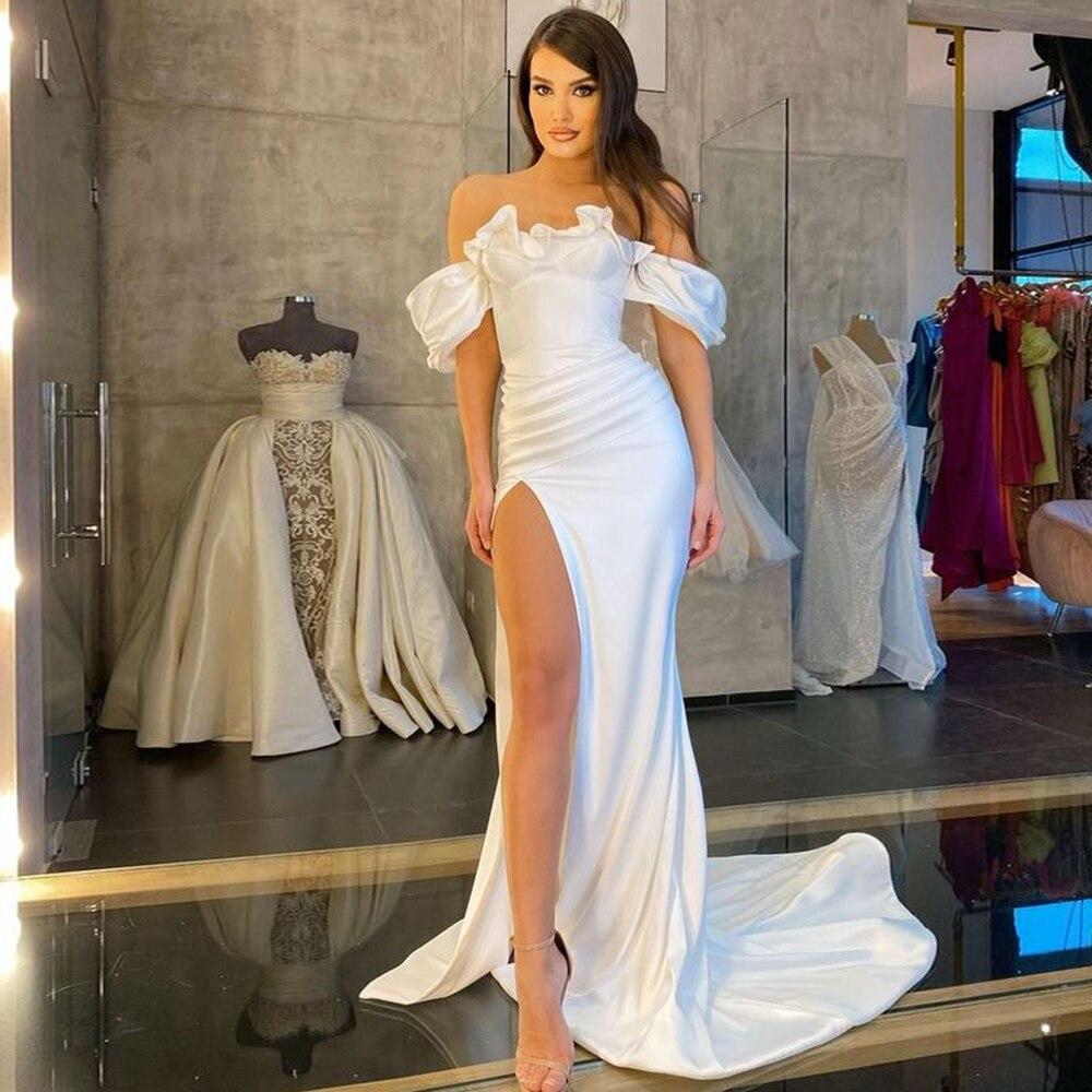 White Mermaid Evening Dresses Long 2021 Off-Shoulder Elegant Side Split Ball Gowns Simple Sweetheart Celebrity robes de soirée