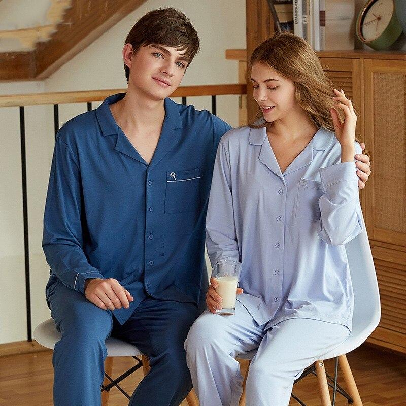 Lovers Pajamas Set Autumn Long Sleeve 2pcs Shirt&pant Nightwear Soft Modal Men Sleep Set Sleepwear Casual Loose Home Clothes
