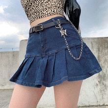 S-L Fashion Denim Mini Skirt for Women High Waist Plus Size Jean Skirts 2021 Summer Ladies Ruffles P