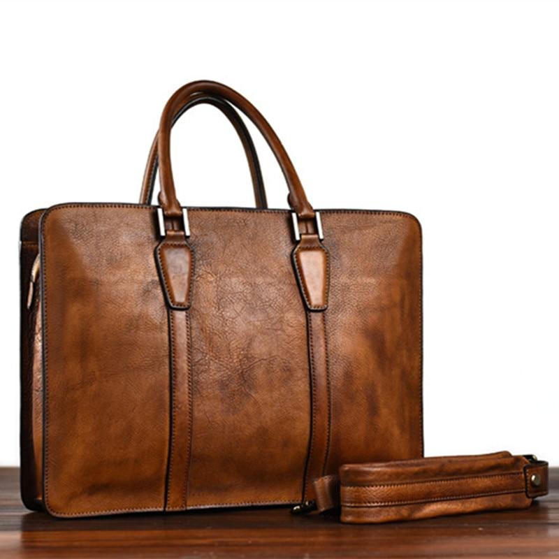 Retro luxury high-quality natural real leather men's briefcase laptop handbag simple casual office shoulder messenger bag