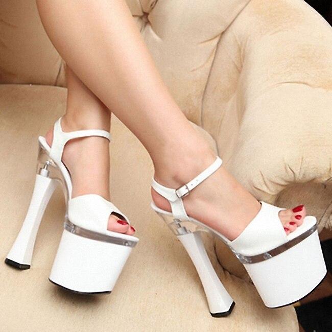 Mujeres sandalias de verano plataformas Nightclub Sexy transparente cristal sandalias tacón alto 18 19cm T shows Big Yards Shoe