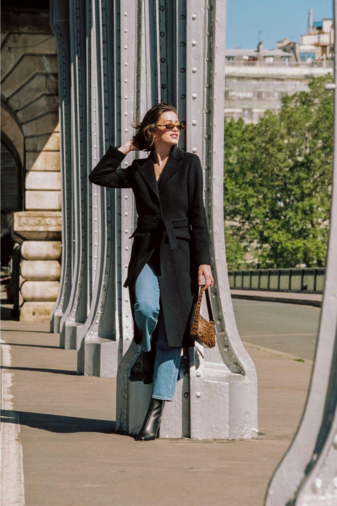 Женское пальто, новинка осень-зима 2021, черное шерстяное пальто выше колена, кружевное шерстяное пальто в стиле ретро