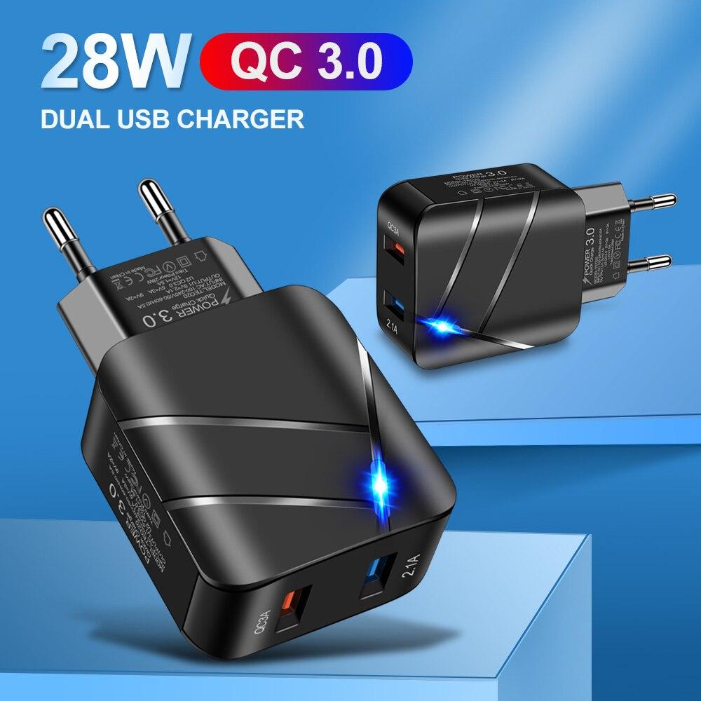 FLOVEME 28W Tragbare Dual USB Ladegerät Schnell 3,0 2,1 EINE Lade EU/UNS Für iPhone 12 11 X XS Schnelle Wand Ladegerät für Samsung Xiaomi