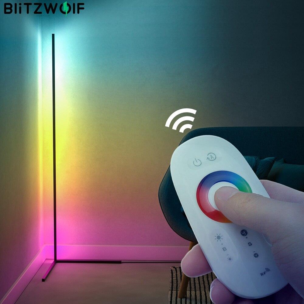 BlitzWolf BW-FLT1 الزاوية الطابق مصباح مع RGB الإضاءة الملونة تأثير 68 الديناميكي ضوء أوضاع RF الذكية التحكم عن بعد مصممة