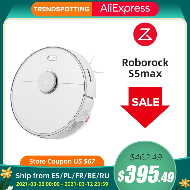 Roborock S5 max Vacuum Cleaner Wet Dry Robot Mopping Sweeping Dust Sterilize Smart Planned Wash Mop upgrade for S50 S55