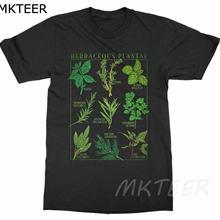 Camiseta de hierbas para hombres, camisa con estampado de plantas de jardín botánico, arte de floración de flor de fruta, estilo estético coreano Ullzang