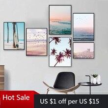 Coucher de soleil océan paysage toile peinture affiche nordique plage surf mur Art décor mer oiseau imprime affiches esthétique chambre décor