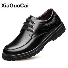 Autumn Winter Men Casual Shoes Warm Luxury British Leather Dress Shoes Business Solid Comfortable Ro