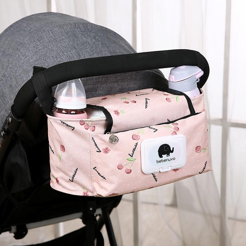 Bebé de dibujos animados bolso de cochecito para la mamá cochecito de viaje bolsas de pañales botella de agua bolsa de almacenamiento de bolsa de pañales de cuidadora organizador pañales Caddy