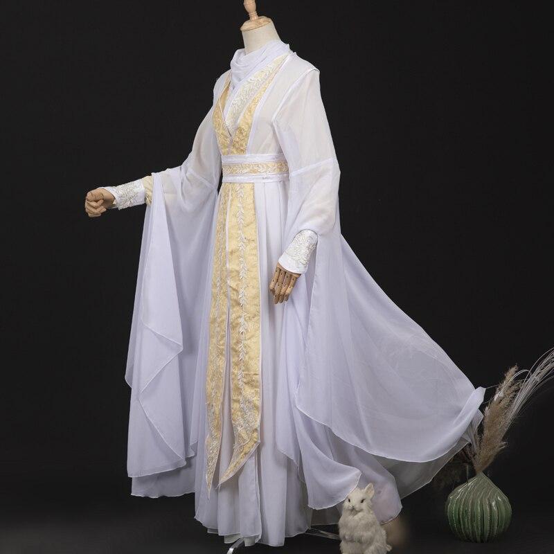 جديد الأبيض Hanfu الرجال الصينية القديمة التقليدية الملابس الجنية زي الذكور Hanfu فستان طويل عباءة مهرجان المرحلة الزي DNV14199