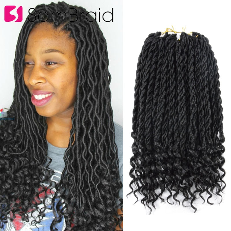 SAMBRAID Bohemian18 inch Faux Locs Curly Crochet Braiding Ombre Hair Extension Synthetic Braids For Women 24 Strands