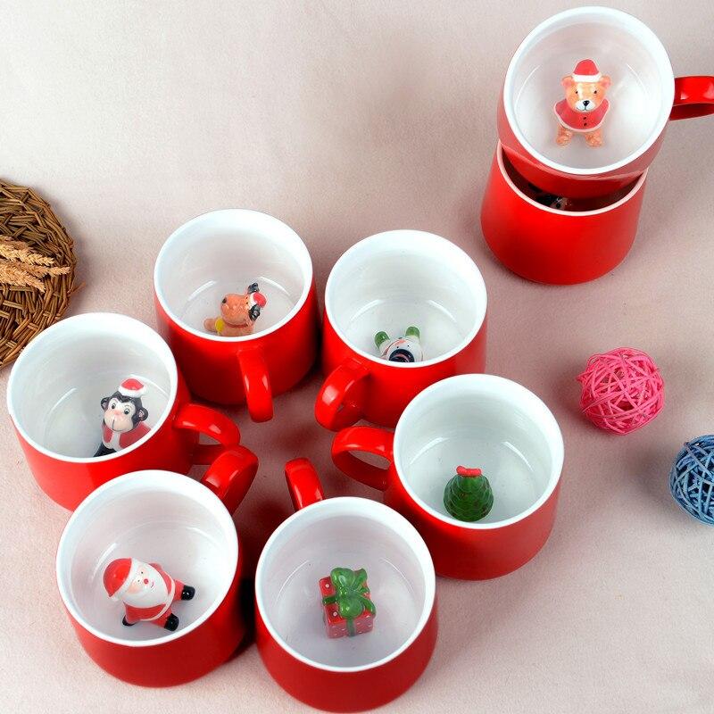 Taza navideña con diseño de Animal Santa Claus, taza creativa para café, leche y desayuno, Taza de cerámica con dibujos animados, regalos novedosos en 3D, taza navideña