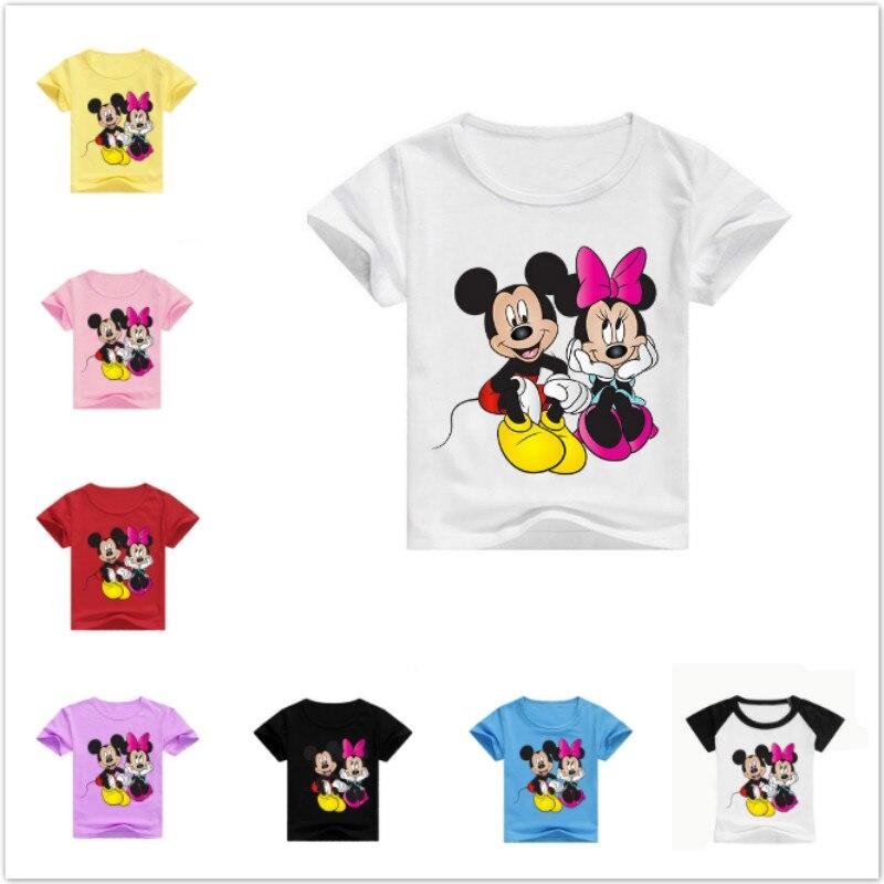 Camisetas de algodón de verano para bebés, camisetas de manga corta con estampado de Mickey Minnie para niños, camisetas para niñas, camisetas para niños, disfraces