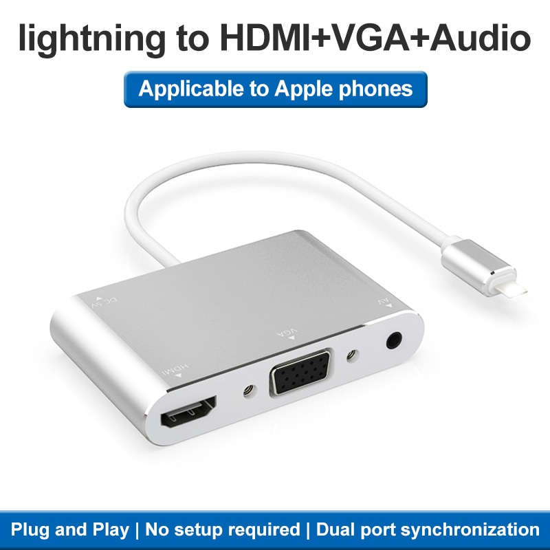 Hdtv otg cabo para iphone hdmi vga 3,5mm adaptador de audio adaptador...