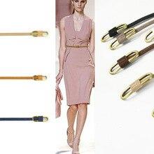 Coloré femmes robe ceintures avec boucle en métal femme étroite Faux cuir véritable taille ceinture ceinture mignon sangle