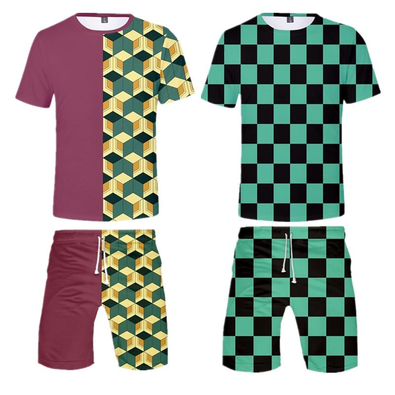 Démon Slayer Kimetsu no Yaiba Kamado chemise Shorts costumes Cosplay hommes Kamado Tanjirou Nezuko court 3D t-shirt Short fille garçon enfants