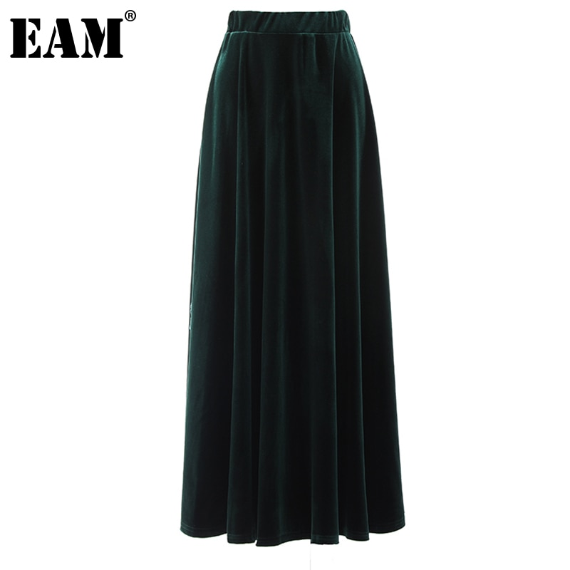 [EAM] عالية مرونة الخصر الأخضر الداكن المخملية طويلة أنيقة نصف الجسم تنورة المرأة الموضة المد جديد ربيع الخريف 2021 1DE2898