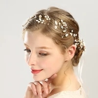 hot selling pearl leaf headband handmade golden hairpin headband set bridal headdress hnd hair accessories