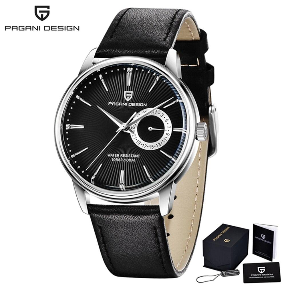 PAGANI تصميم العلامة التجارية الأعلى ساعة رجالية عادية جلدية فاخرة اليابان VH65 ساعات كوارتز الأعمال الياقوت 100 م مقاوم للماء ساعة مستديرة