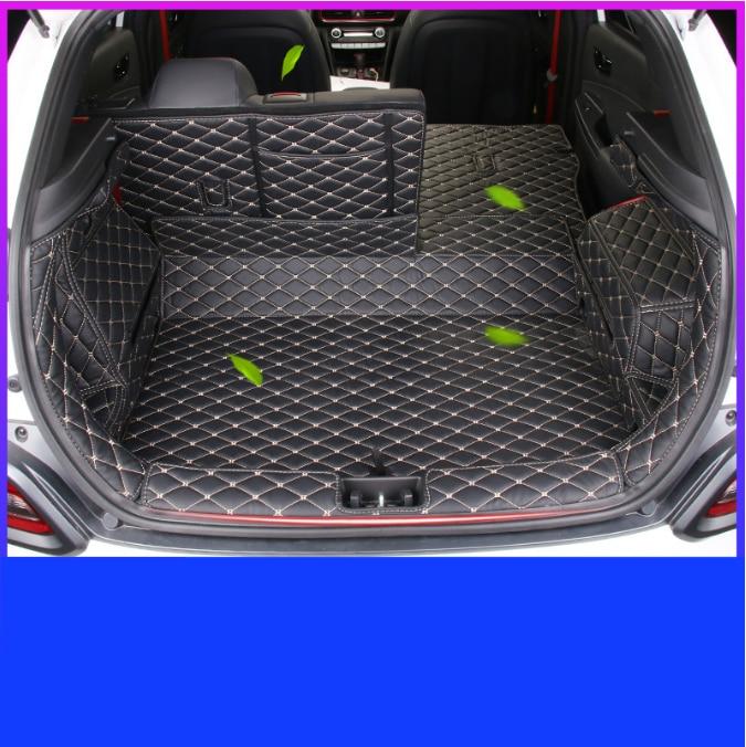 Estera de maletero de coche s para Hyundai Encino Kona, estera de maletero de coche de cuero de lujo, forro de carga 2018 2019 2020, alfombra para maletero de equipaje