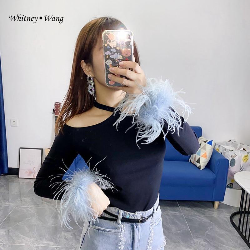 WHITNEY WANG 2021 Frühling Mode Streetwear Sexy Halter Federn Dünnes T-Shirt Frauen Tops Lady Tees