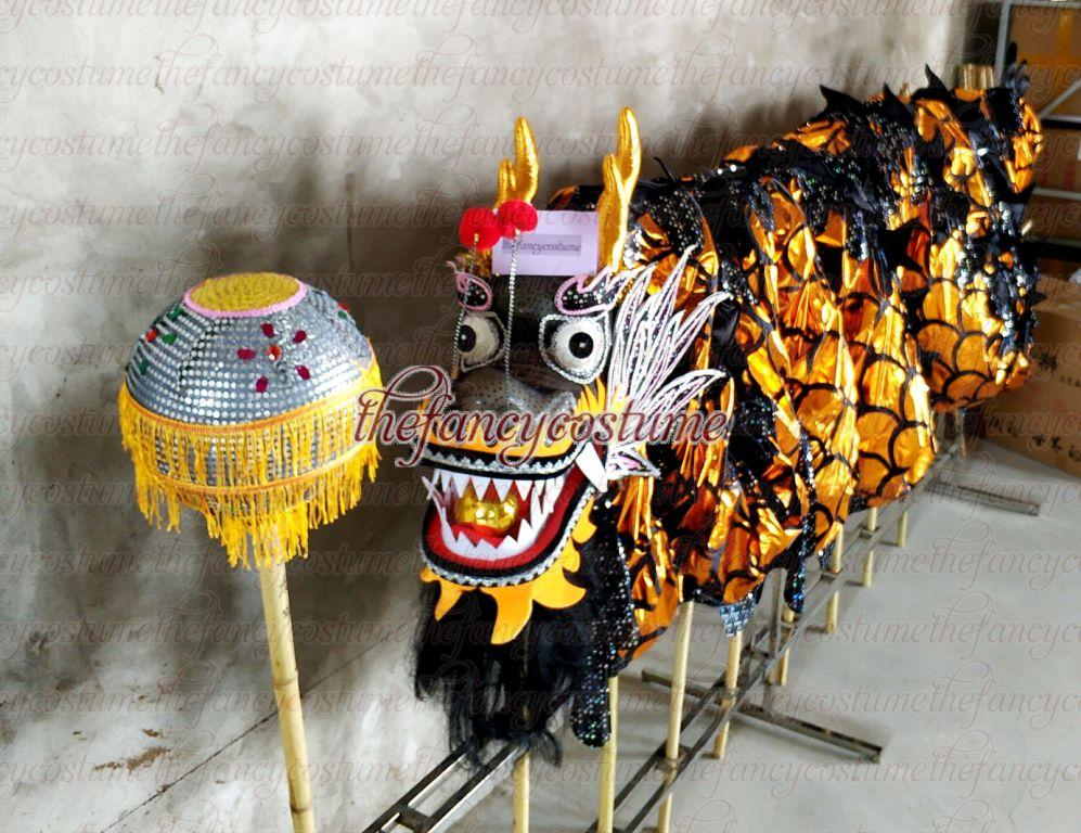 Kid Children 7.9m Golden  Dragon Dance Costume 8 Players Student School Halloween Event Party Performance Parade Folk Stage