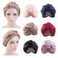 silk satin sleep cap women turban elastic head scarf hair care night hat chemo caps sleeping bonnet beanie cover headwear solid