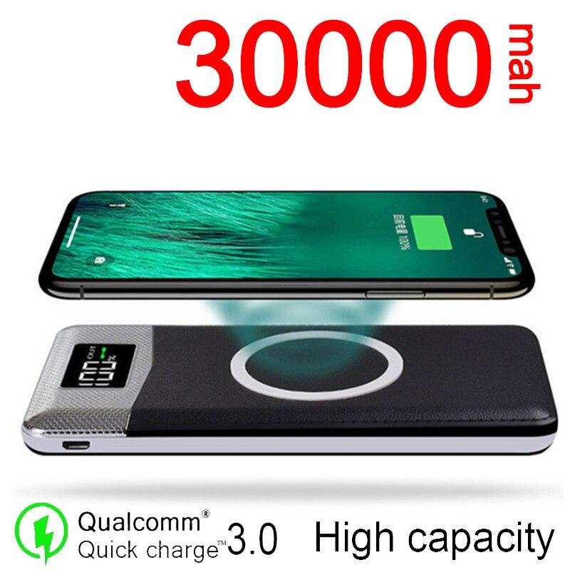 30000mAh المحمولة قوة البنك بطارية خارجية PowerBank ل شاومي آيفون 2USB LED العرض الرقمي اللاسلكية شحن قوة البنك
