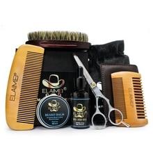1set Men Beard Kit Styling Tool Beard Bib Aprons Balm Beard Oil Comb Moisturizing Wax Styling Scissors Beard Care Set