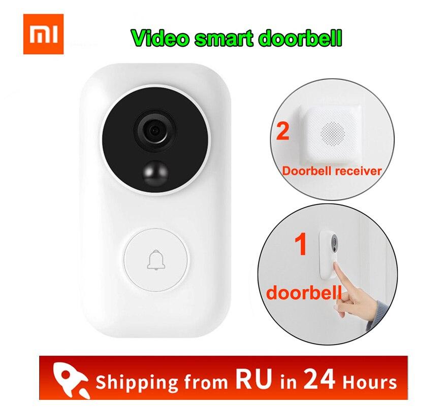 Xiaomi-جرس باب لاسلكي ، AI ، التعرف على الوجه ، كشف الحركة ، فيديو ليلي بالأشعة تحت الحمراء ، WIFI ، طاقة تلقائية ، Mi Home