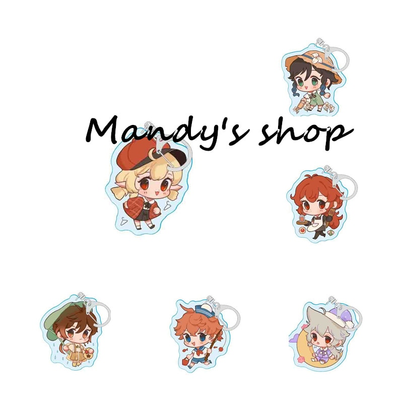 Genshin Impact Zhongli Diluc Keychain Cosplay Cute Game Character Venti Paimon Tartaglia Mona Acrylic Key Chain Pendant Keyring