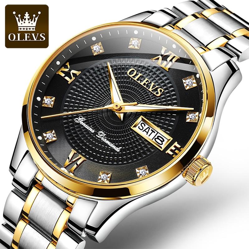 OLEVS 2021 New Men's Luxury Luminous Calendar Week Display Watch Automatic Mechanical Waterproof Dial  Watches Reloj Hombre 6603