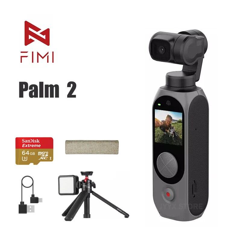 FIMI PALM-كاميرا جيب 2 ، 4K ، 100 ميجابت في الثانية ، واي فاي ، 3 محاور ، مثبت Gimbal مع ميكروفون مدمج