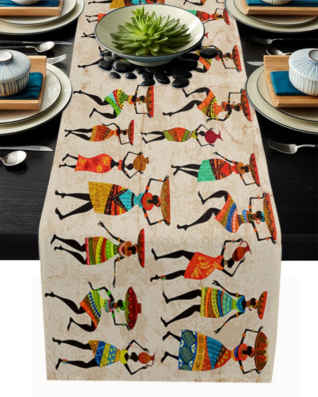 المرأة العرقية الأفريقية الجدول عداء زخارف الزفاف الحديثة طاولة الطعام العدائين تحديد الموقع زينة عيد الميلاد