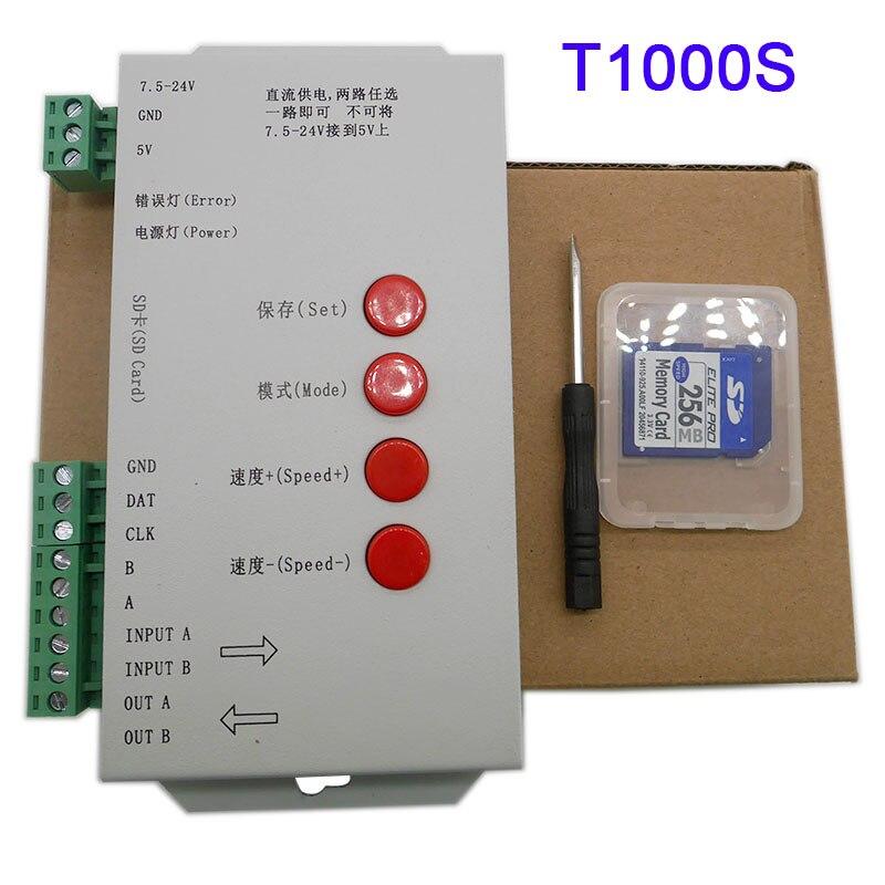 Controlador de tira LED RGB T1000S con tarjeta SD WS2801 WS2811 WS2812B LP6803 led 2048 píxeles DC5 ~ 24V