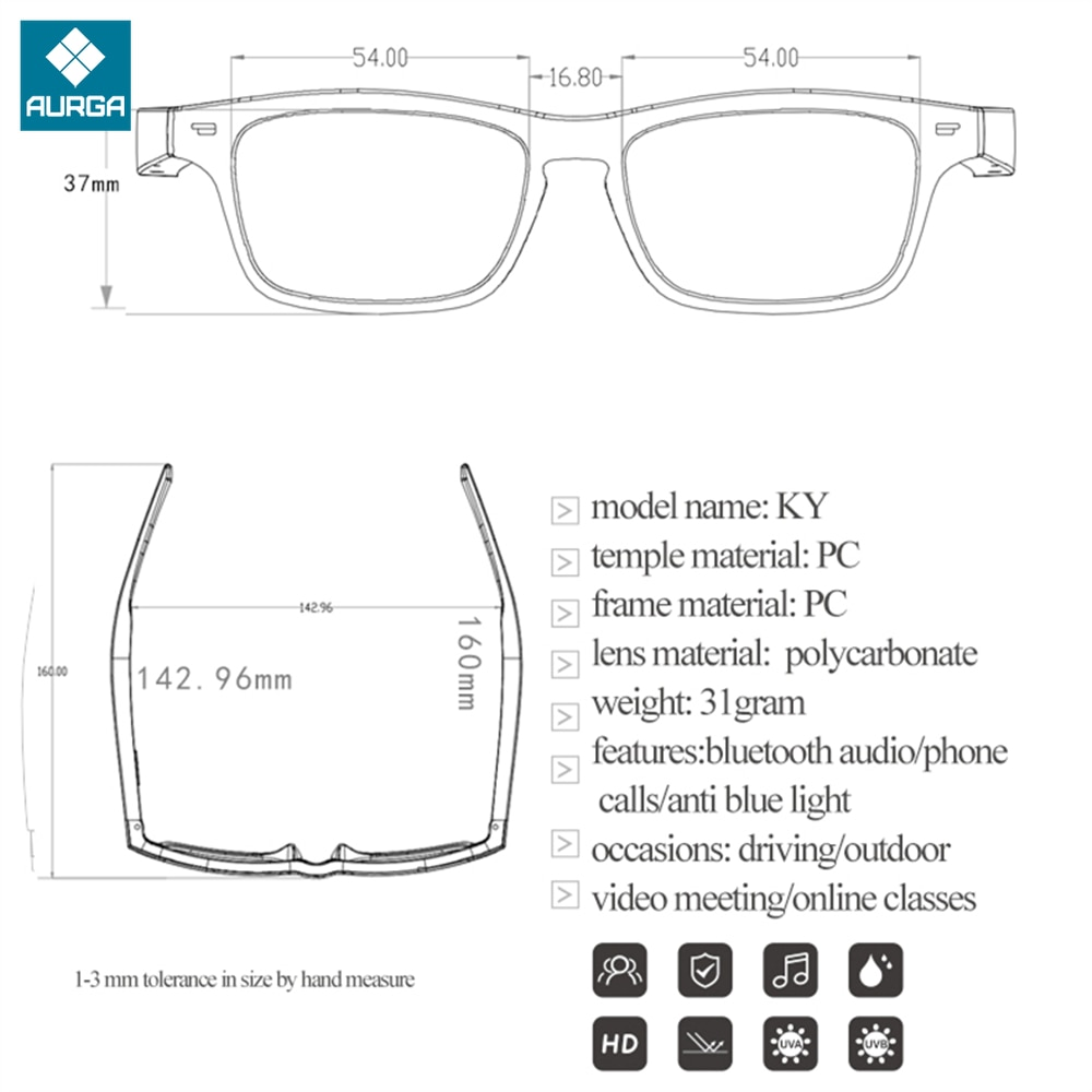 AIKSWE SMART EYEWEAR Bluetooth 5.0 Anti-Blue Light Glasses Touch Wireless Stereo Music With HD Mic Surround Sound Sports Glasses enlarge