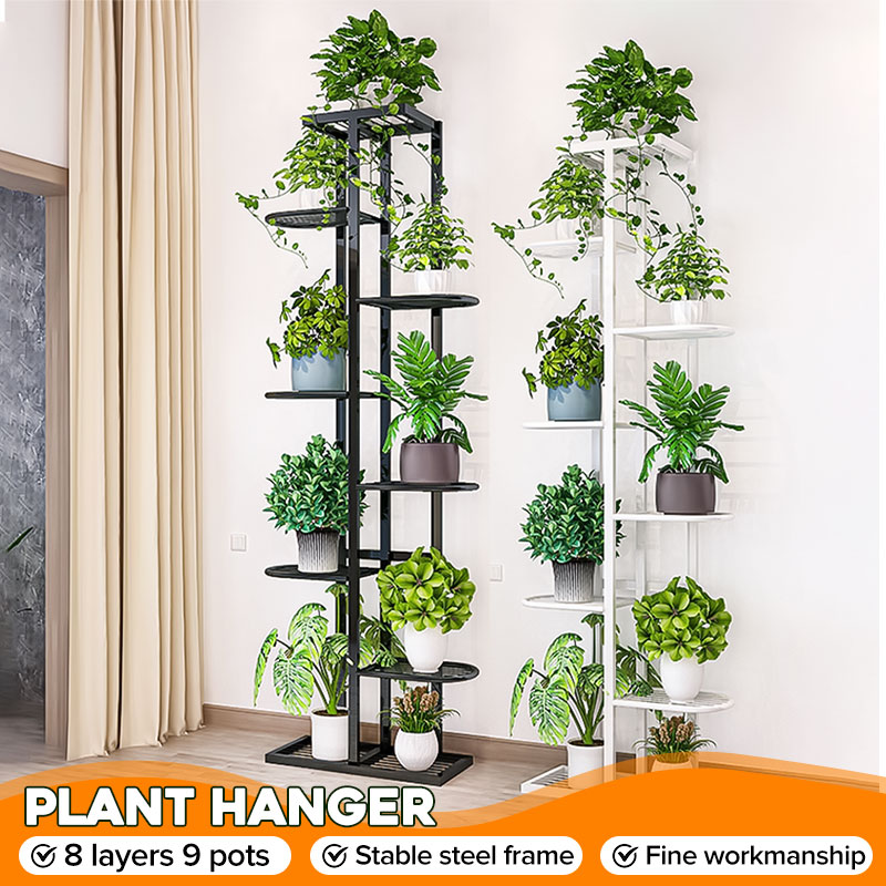 8 Tiers Flower Rack Iron Plant Stand 43x22x141cm Multi Flower Stand Shelves for Bonsai Display Shelf Yard Garden Patio Balcony