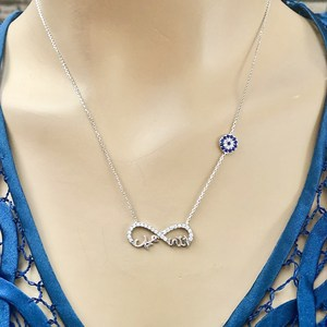 Love 925 Sterling Silver Necklace Women Girls Gift Jewelry Accessories Fashion Handmade Elegant Chain